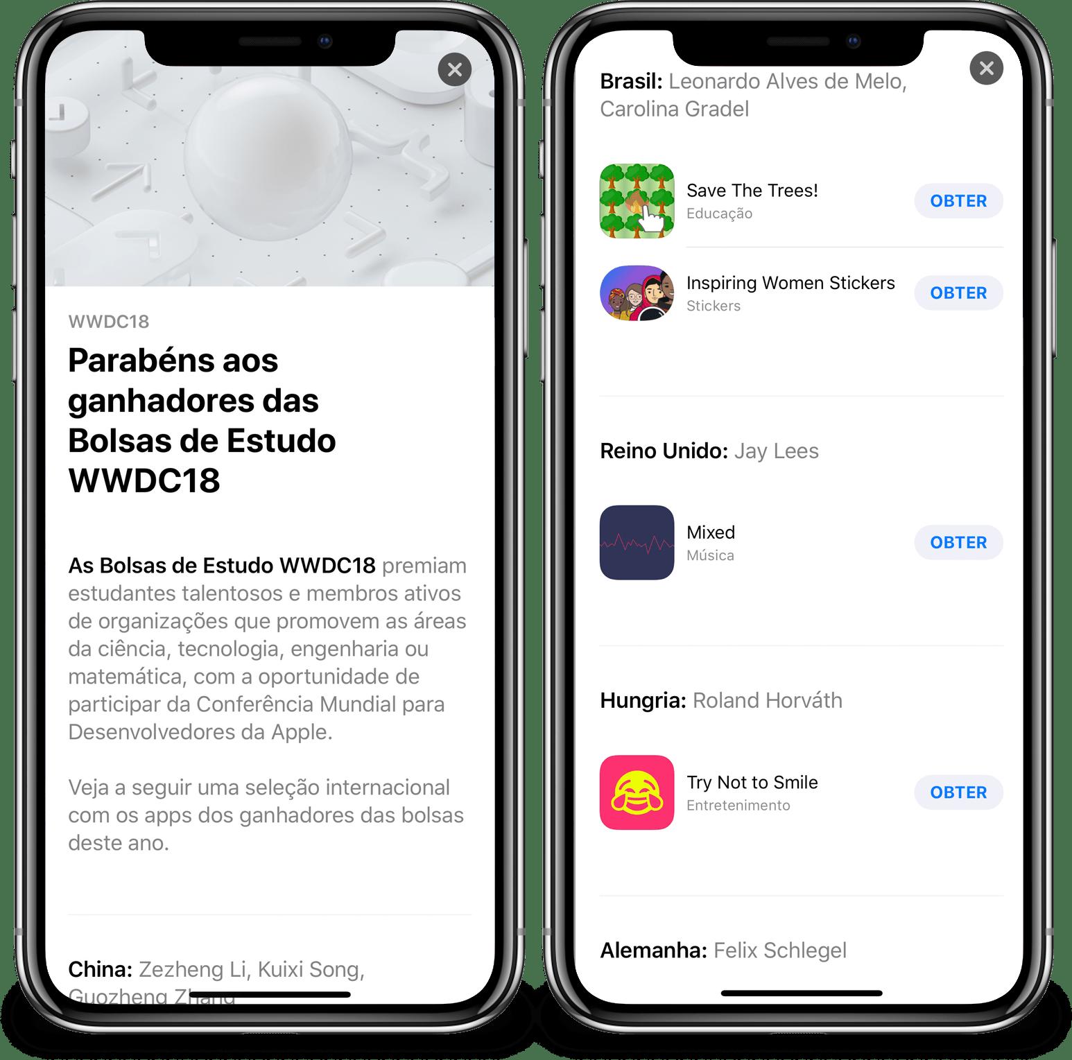 Bolsistas brasileiros da WWDC18 em destaque na App Store