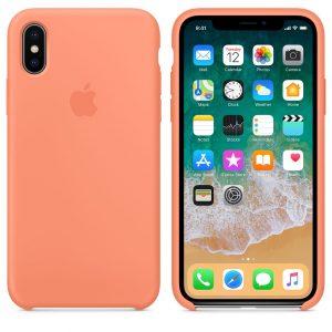 Case de silicone para iPhone X na cor pêssego