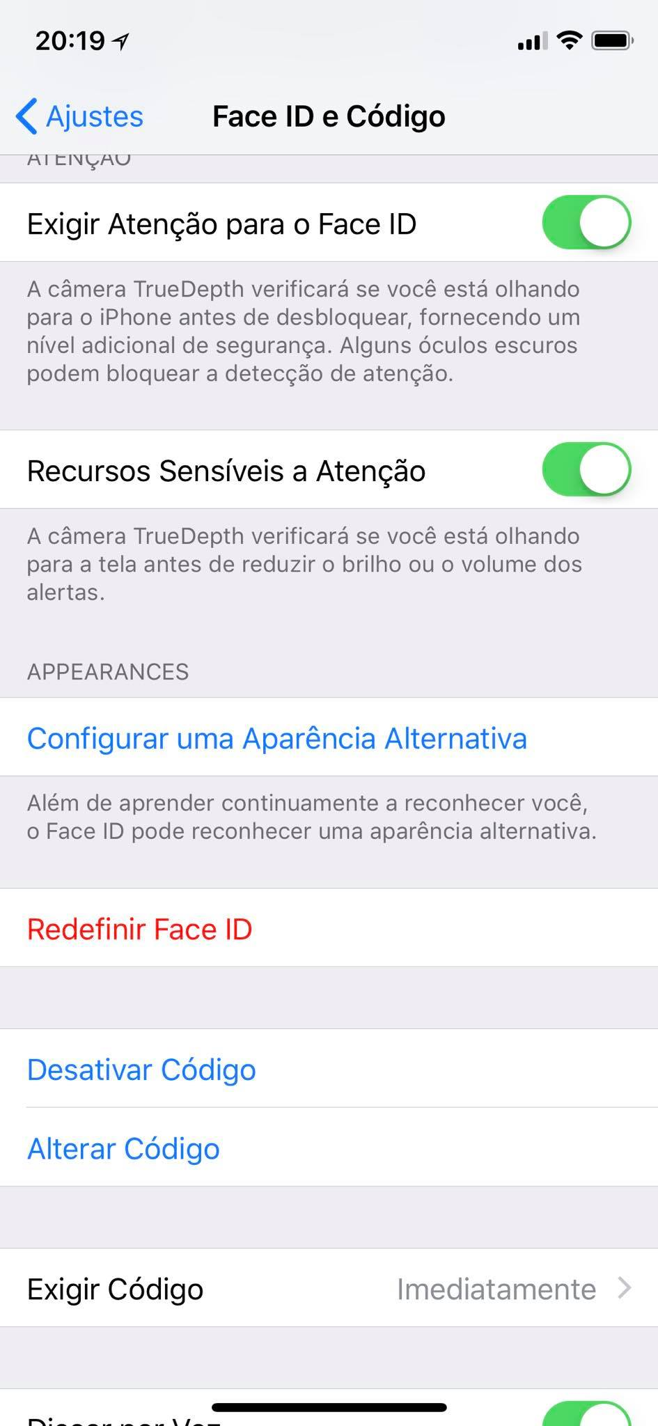 Aparência Alternativa no Face ID do iOS 12