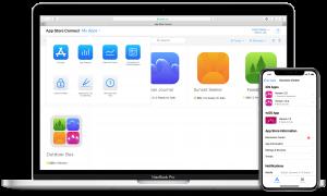 App Store Connect no macOS e no iOS