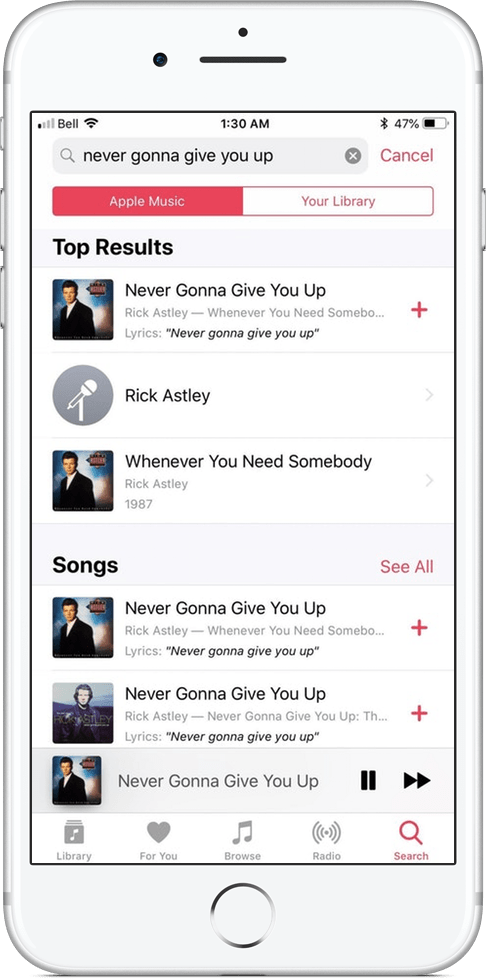 Buscando uma música pela letra no Apple Music do iOS 12