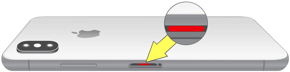 Indicador de contato com líquido do iPhone X