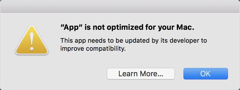 Alerta de apps 32 bits do macOS 10.14 Mojave