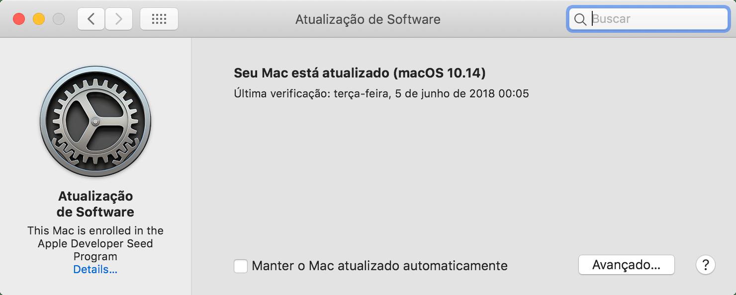 Atualização de Software no macOS 10.14 Mojave