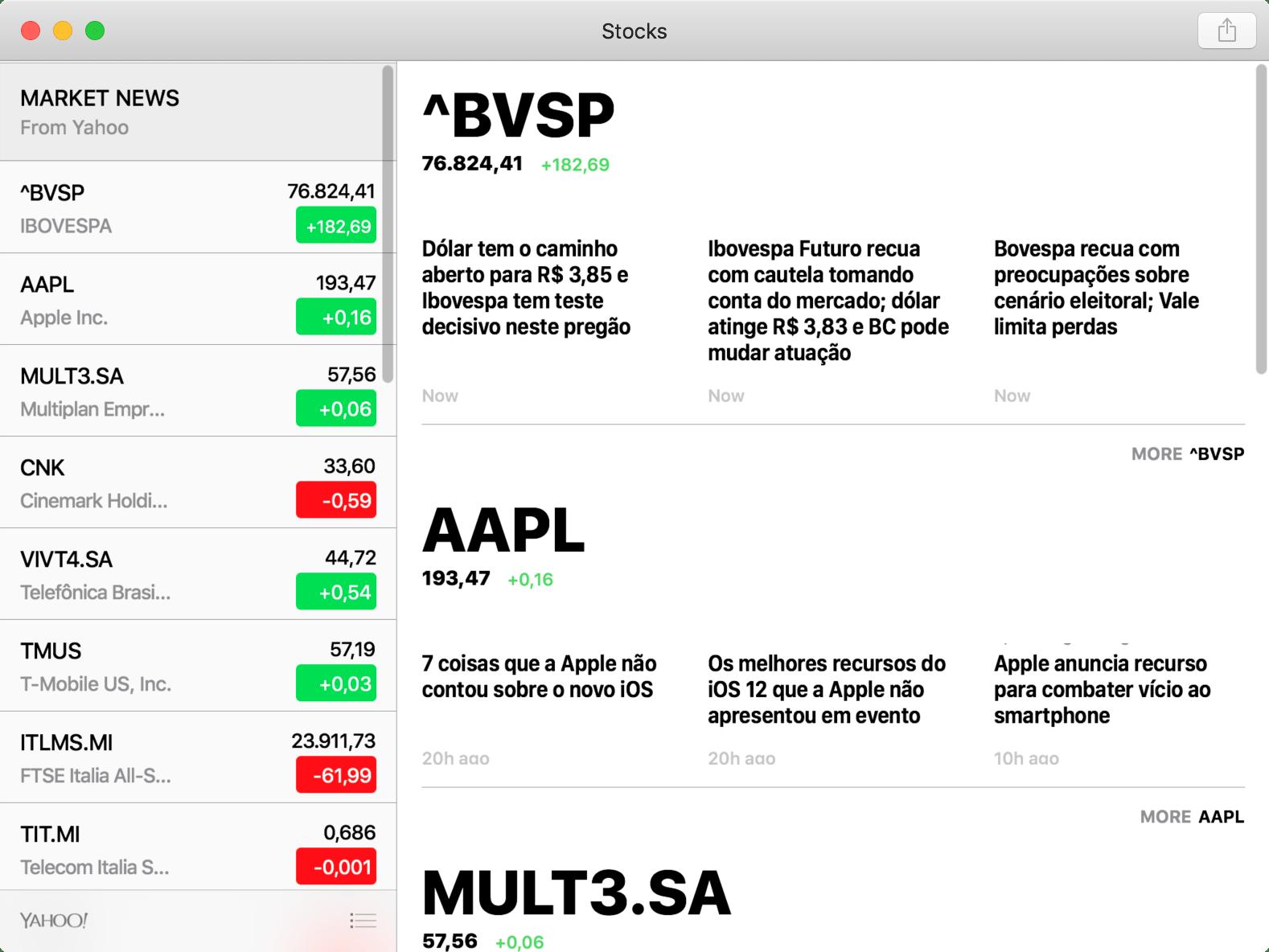 App Bolsa no macOS 10.14 Mojave