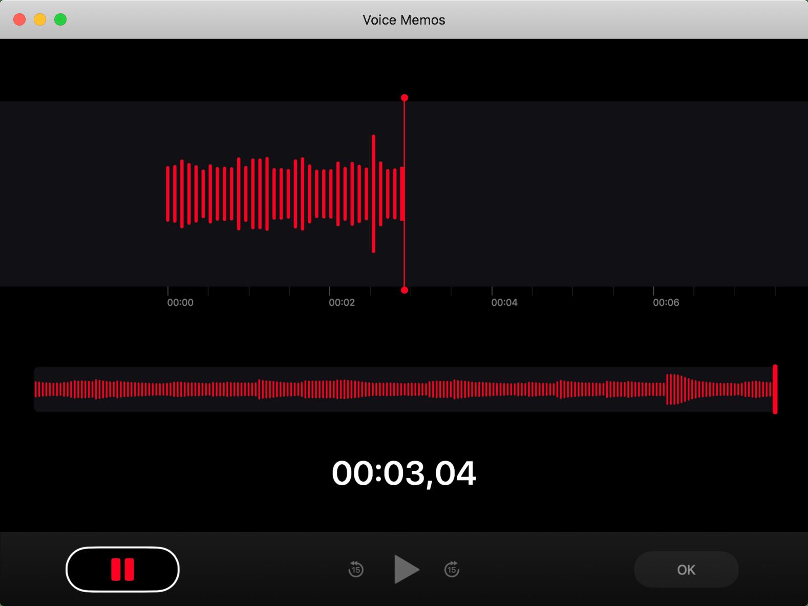 App Gravador no macOS 10.14 Mojave