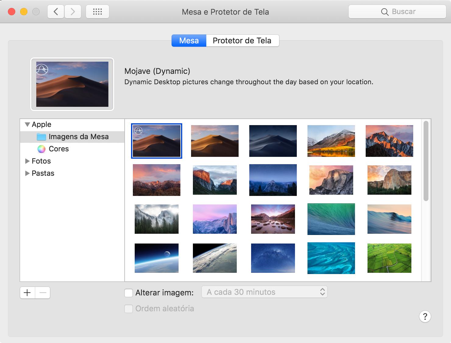 Wallpaper dinâmico no macOS 10.14 Mojave