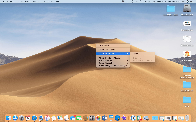 Inserindo uma imagem capturada pelo iPhone no macOS 10.14 Mojave
