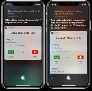 Siri respondendo perguntas sobre a Copa do Mundo