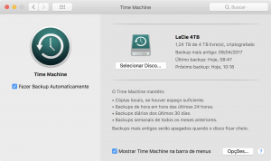 Janela do Time Machine no macOS