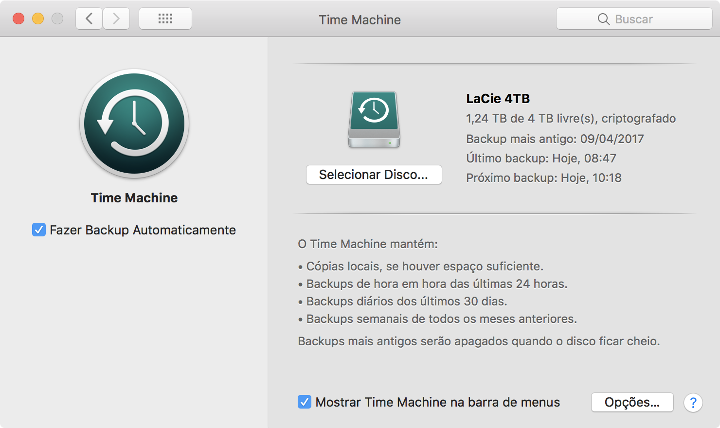 Time Machine window in macOS