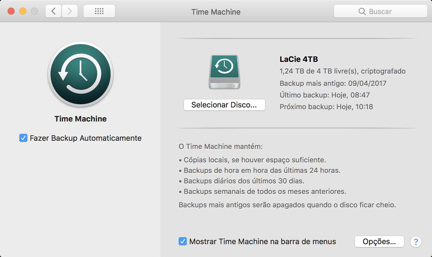 Janela do Time Machine no macOS