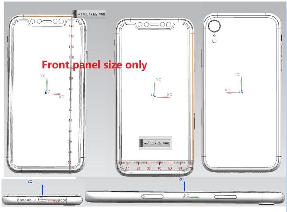 """Desenhos técnicos do """"iPhone de 6,1 polegadas"""""""