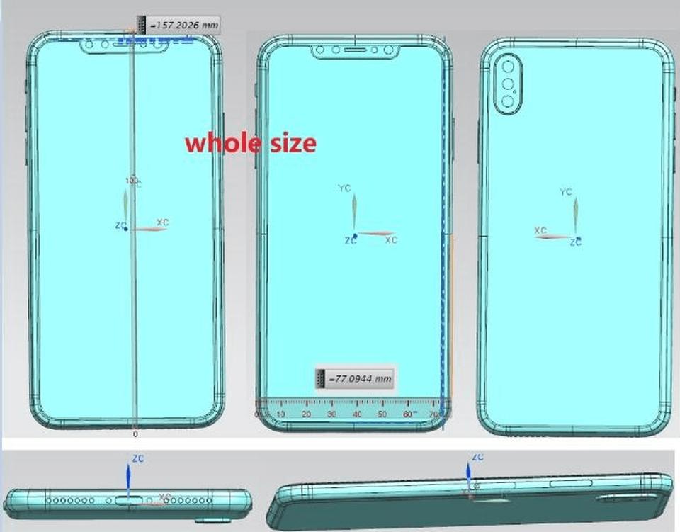 "Desenhos técnicos do ""iPhone X Plus"""