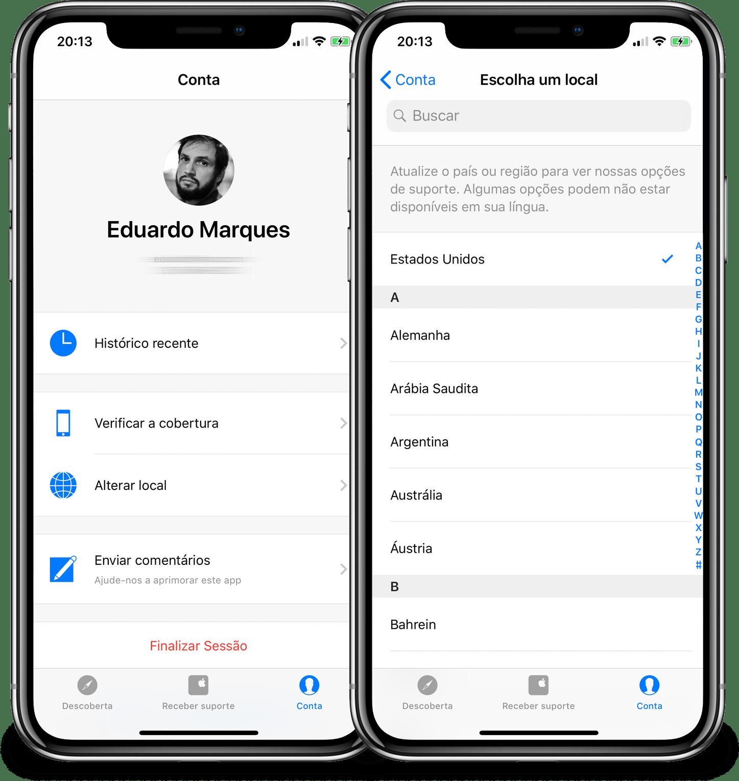 Agendando um horário pelo app Suporte Apple