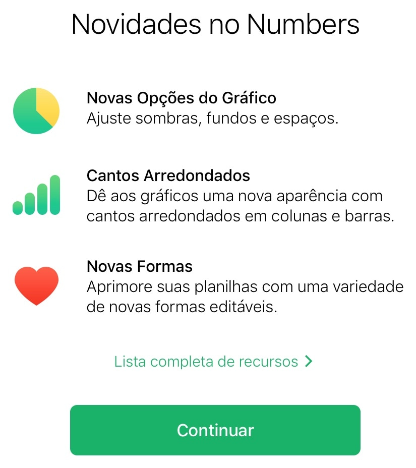 Novidades do Numbers no iCloud.com