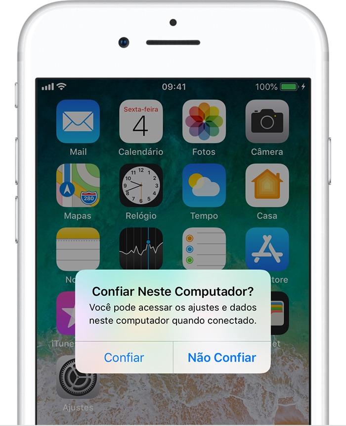 """Alerta do iOS para """"confiar"""" em um Mac/PC"""