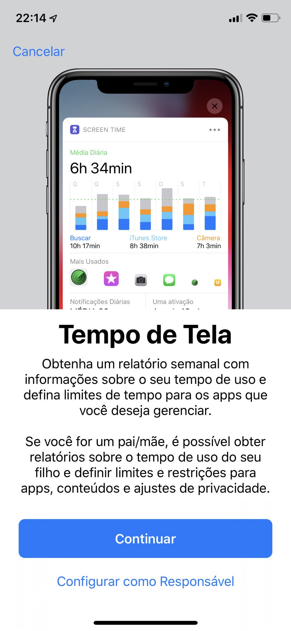 Screenshot do iOS 12 beta