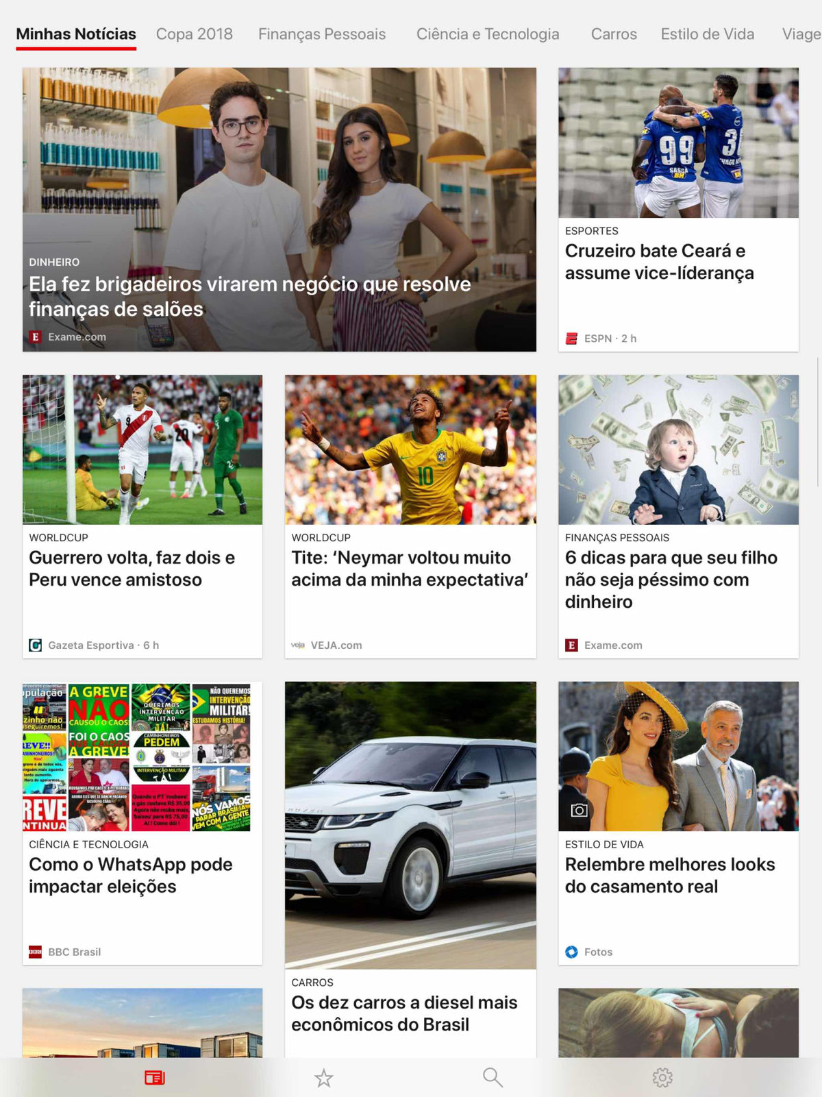 Screenshot do app Microsoft Notícias