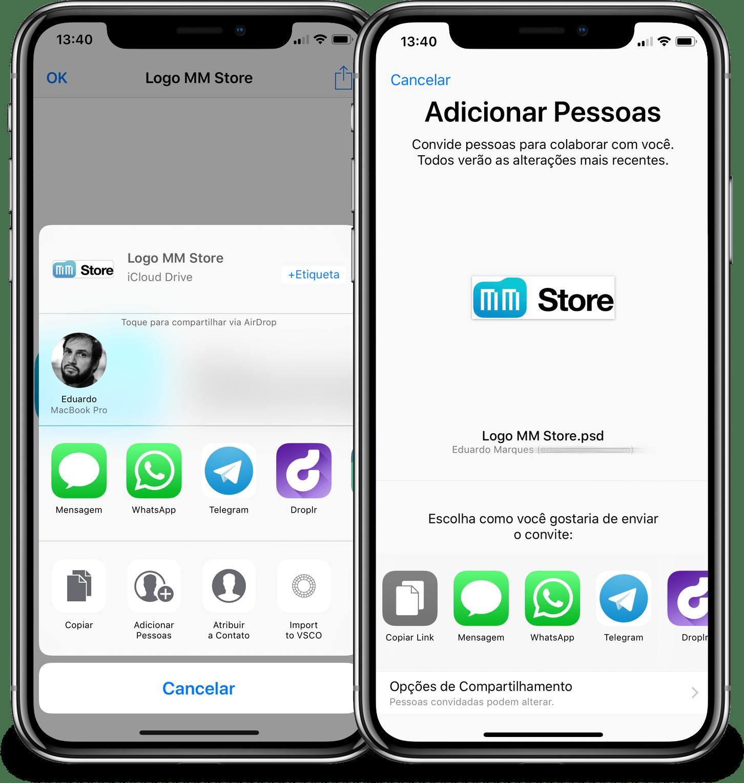 Compartilhando um arquivo no iOS pelo iCloud Drive