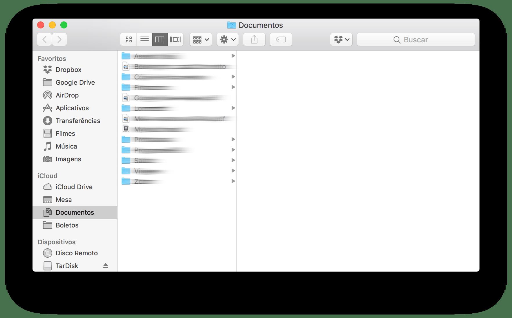 Finder com a pasta Documentos aberta