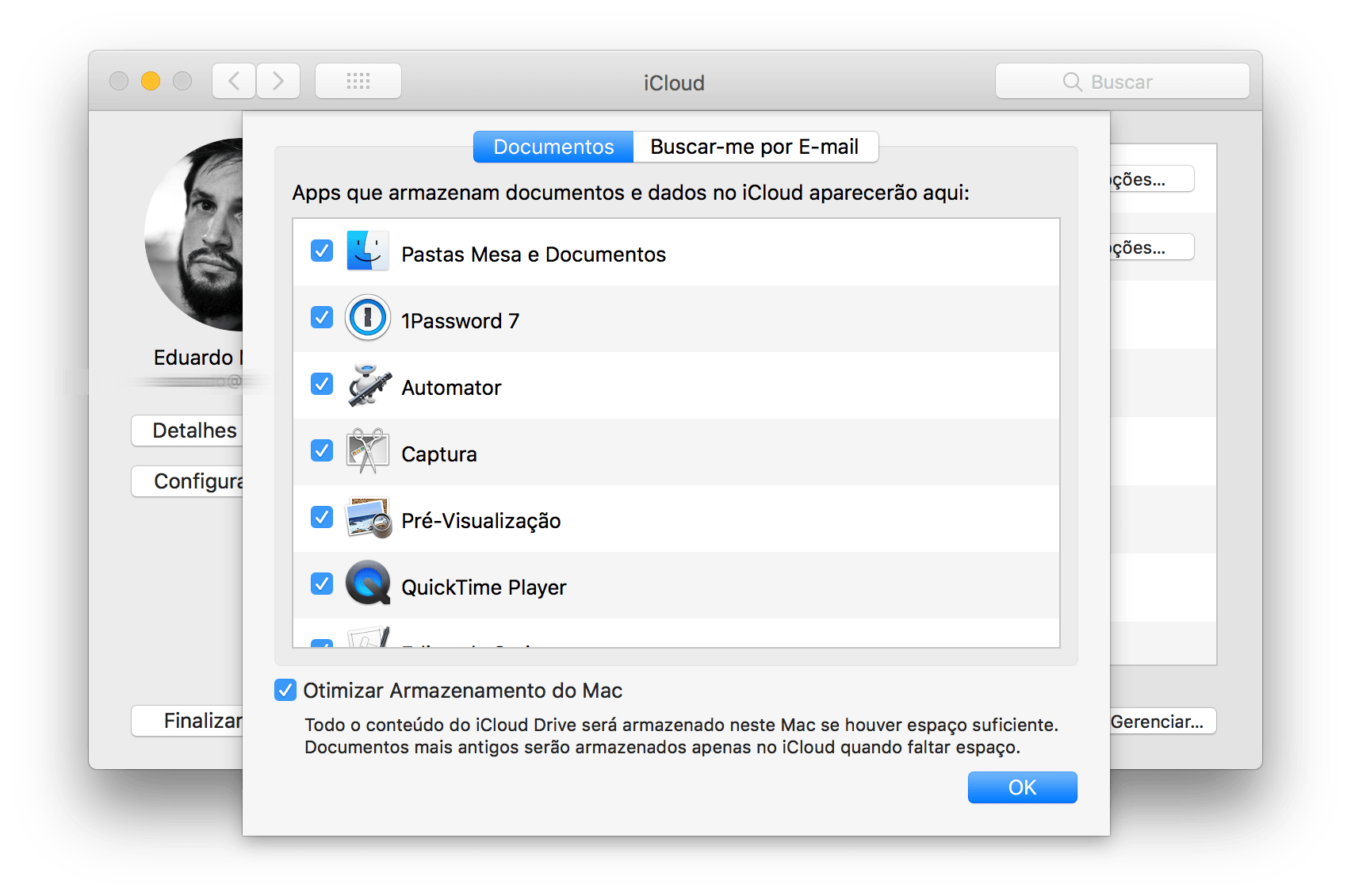 """Opção """"Otimizar o Armazenamento do Mac"""""""