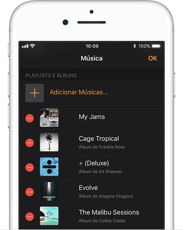 Sincronizado músicas com o Apple Watch
