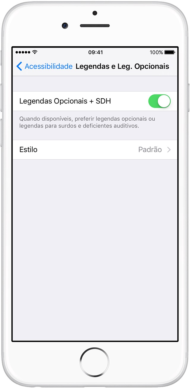 Legendas no iOS