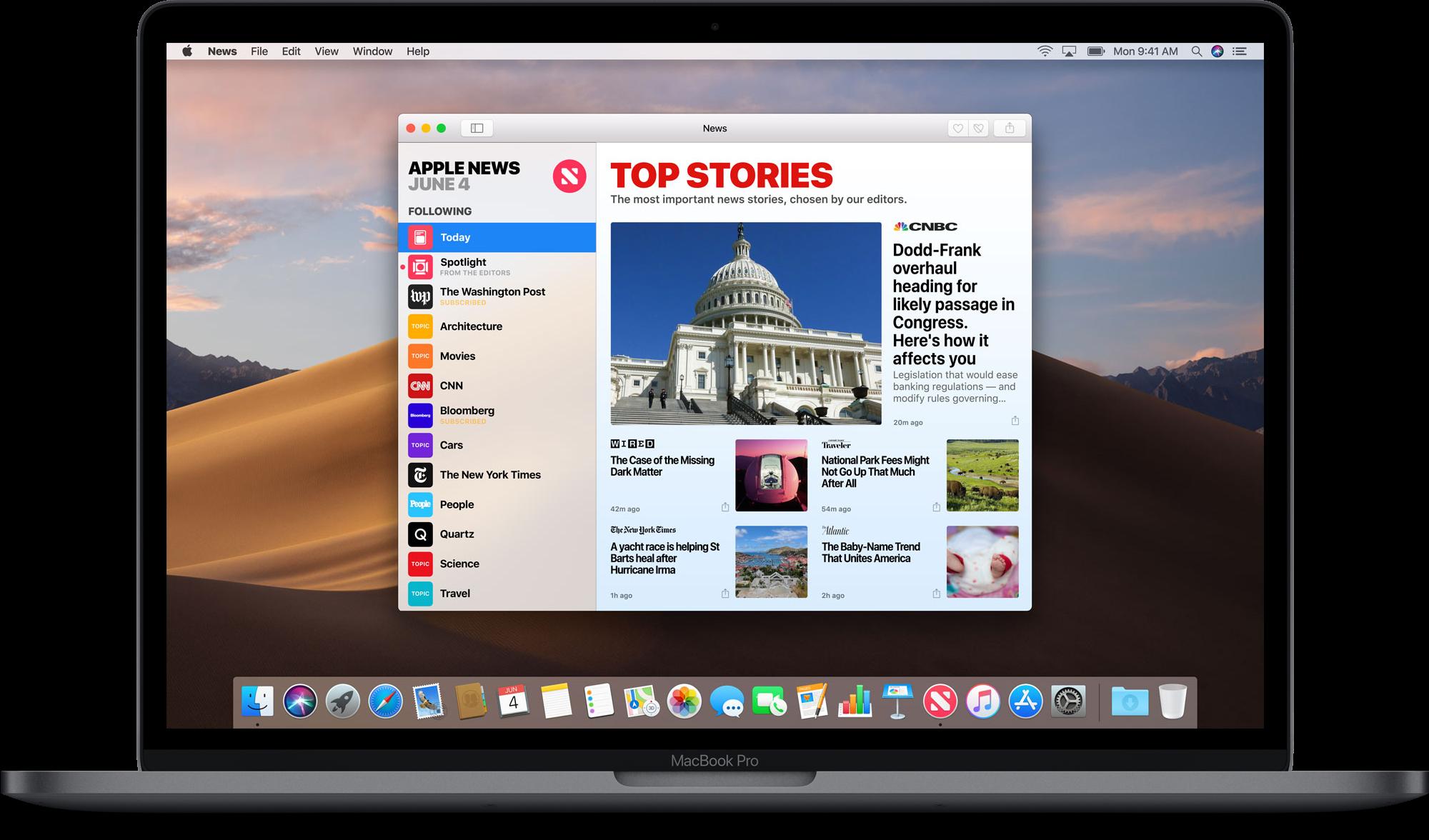 App Notícias no macOS Mojave 10.14