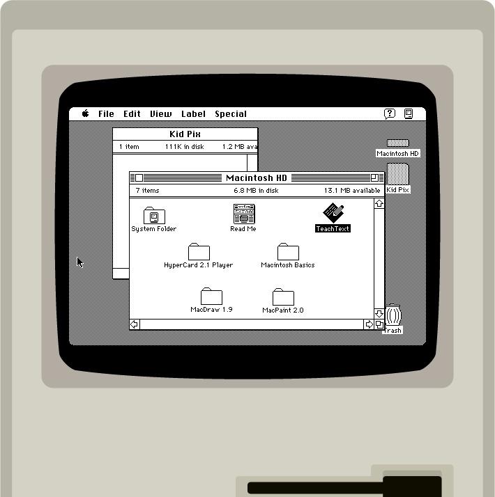 Emulador rodando o System 7