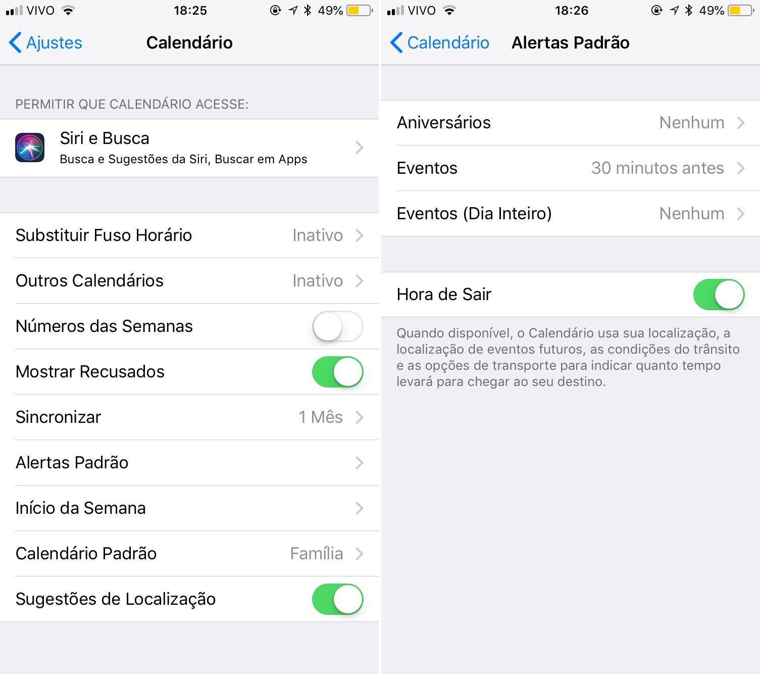 Como ajustar o alerta padrão no Calendário do iOS
