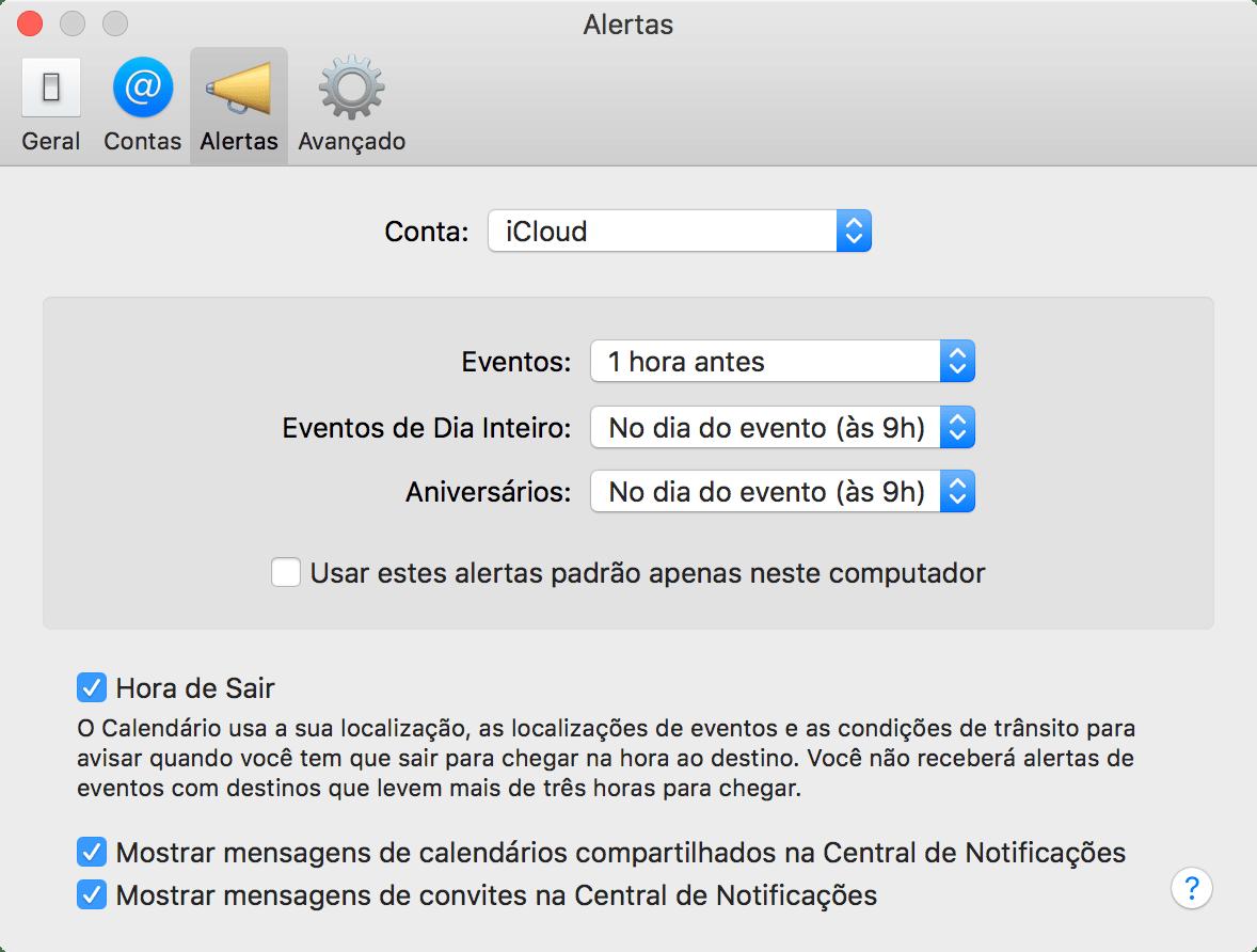 Como ajustar o alerta padrão no Calendário do macOS