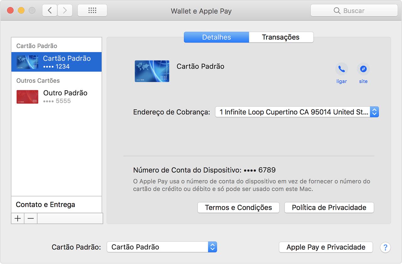 Como mudar o cartão padrão do Apple Pay no Mac