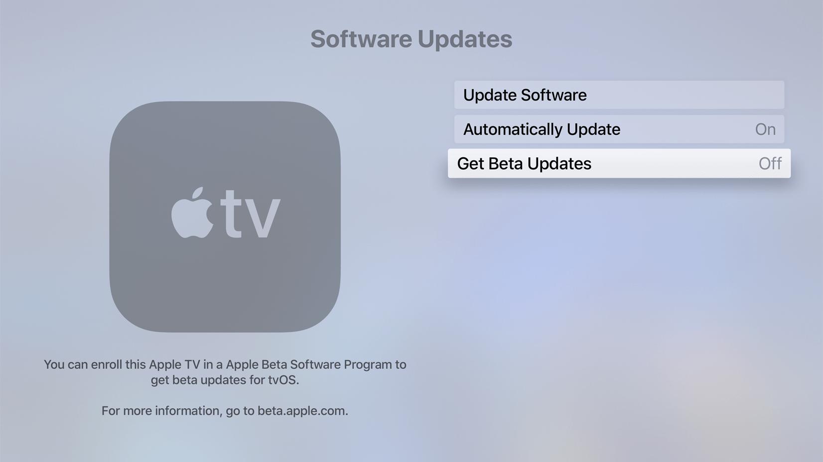 Desactivar la recepción de versiones beta de tvOS