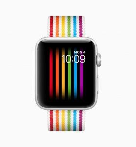 Mostrador e pulseira do Orgulho no watchOS 5