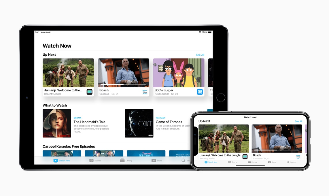 Aplicativo TV em iPad e iPhone