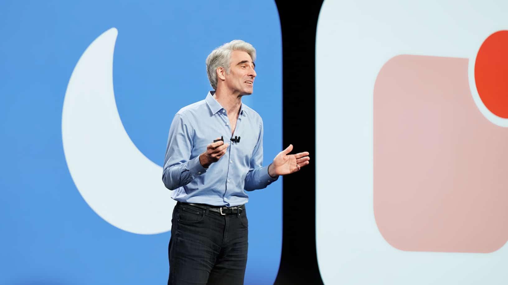 Craig Federighi apresentando o iOS 12