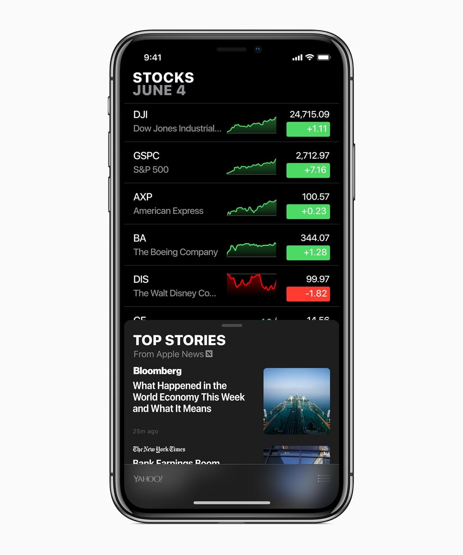 App Bolsa/Stocks no iOS 12