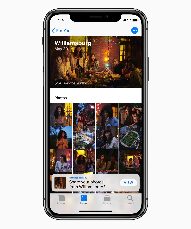 Sugestão inteligente no Fotos do iOS 12