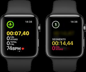 Segmentando um exercício no Apple Watch