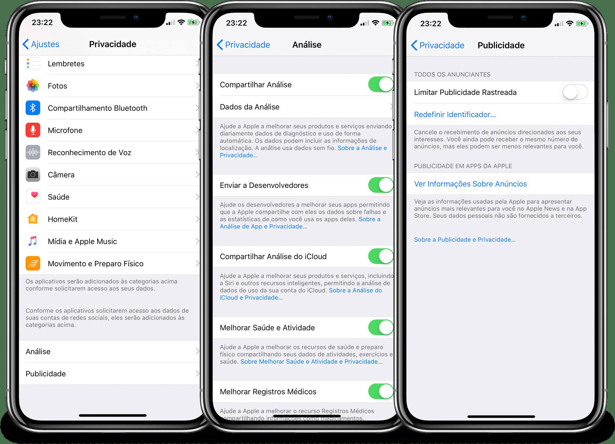 Opções de privacidade no iOS