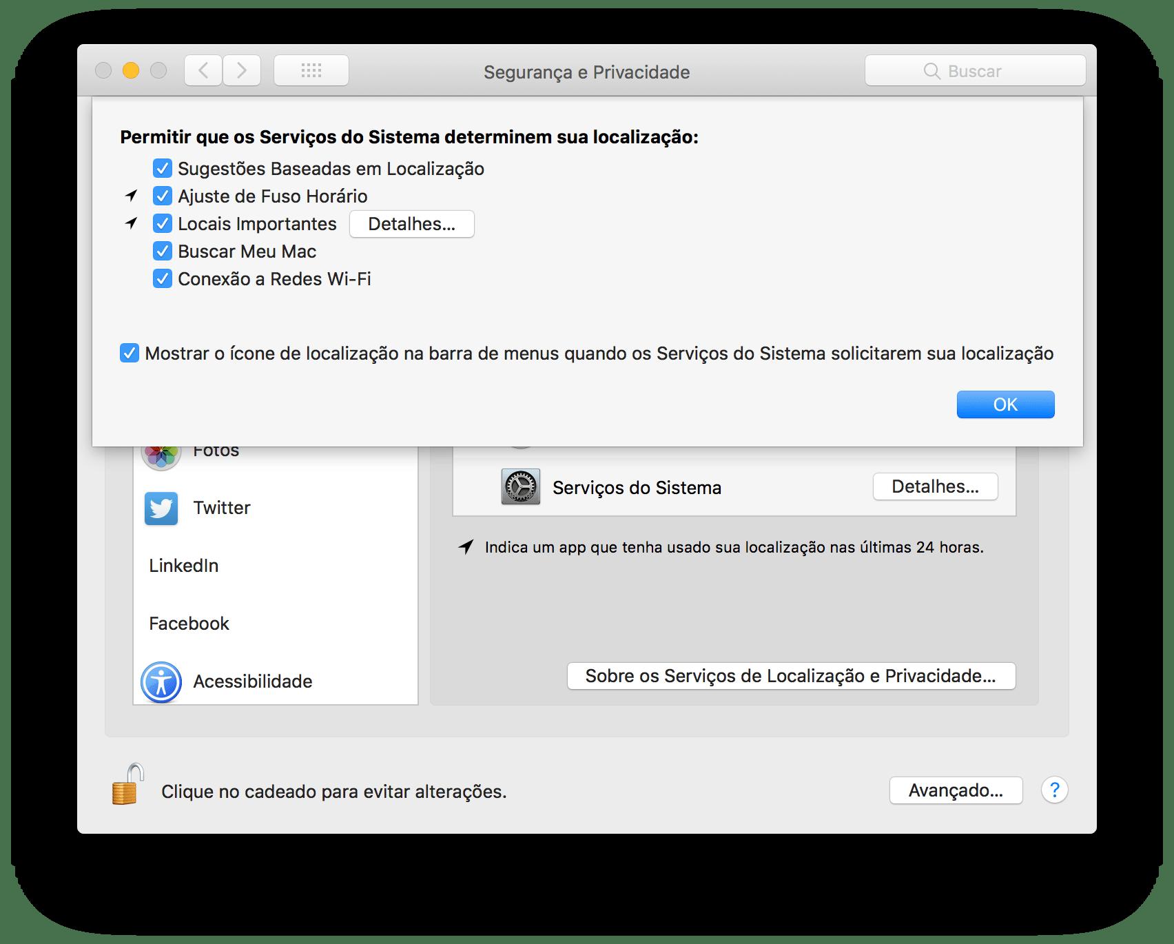 Opções de privacidade no macOS