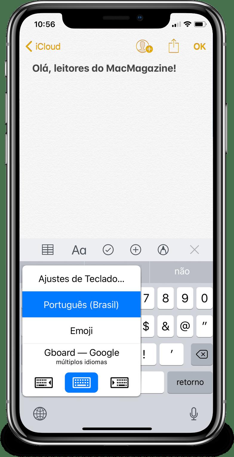 Teclado de terceiros no iOS