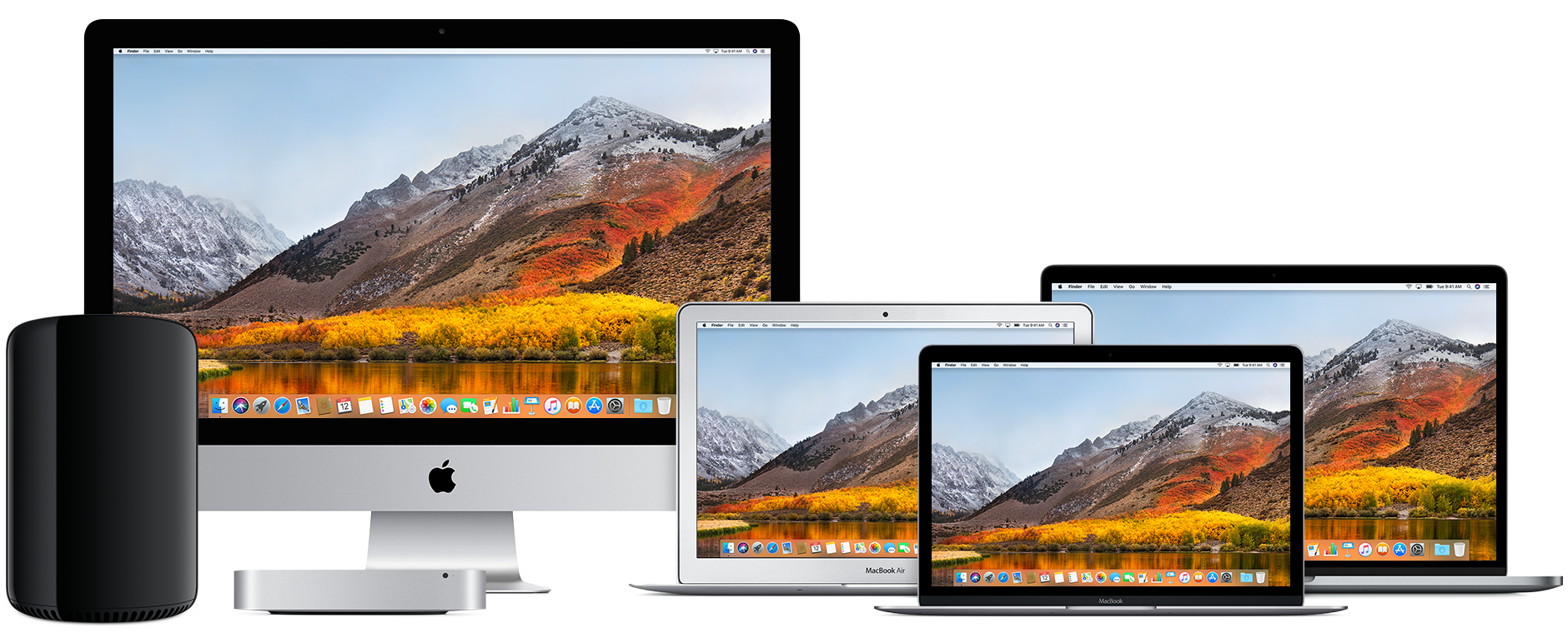 Família de Macs (Mac Pro, iMac, Mac mini, MacBook Air, MacBook e MacBook Pro)