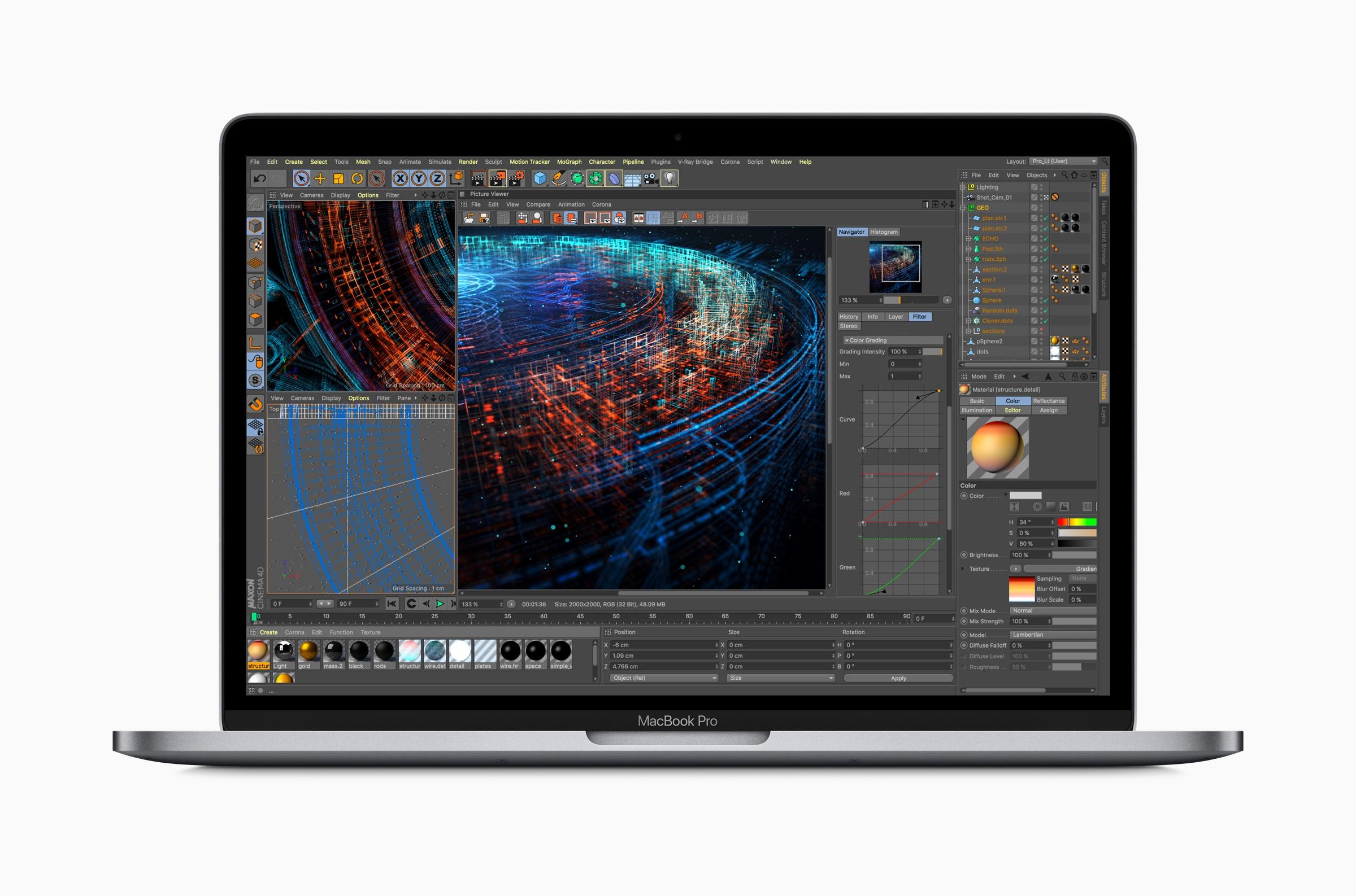 Poder do novo MacBook Pro de frente