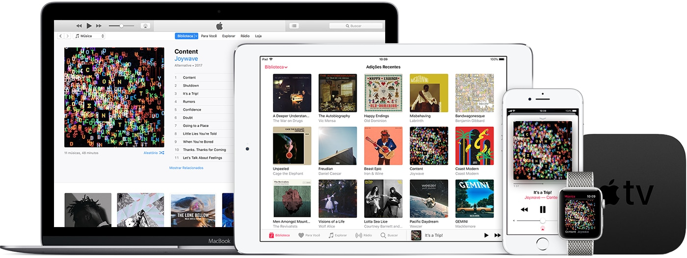 Dispositivos Apple logados no Apple Music