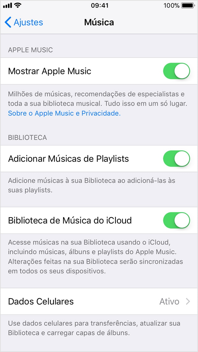 Ativando Apple Music no iOS