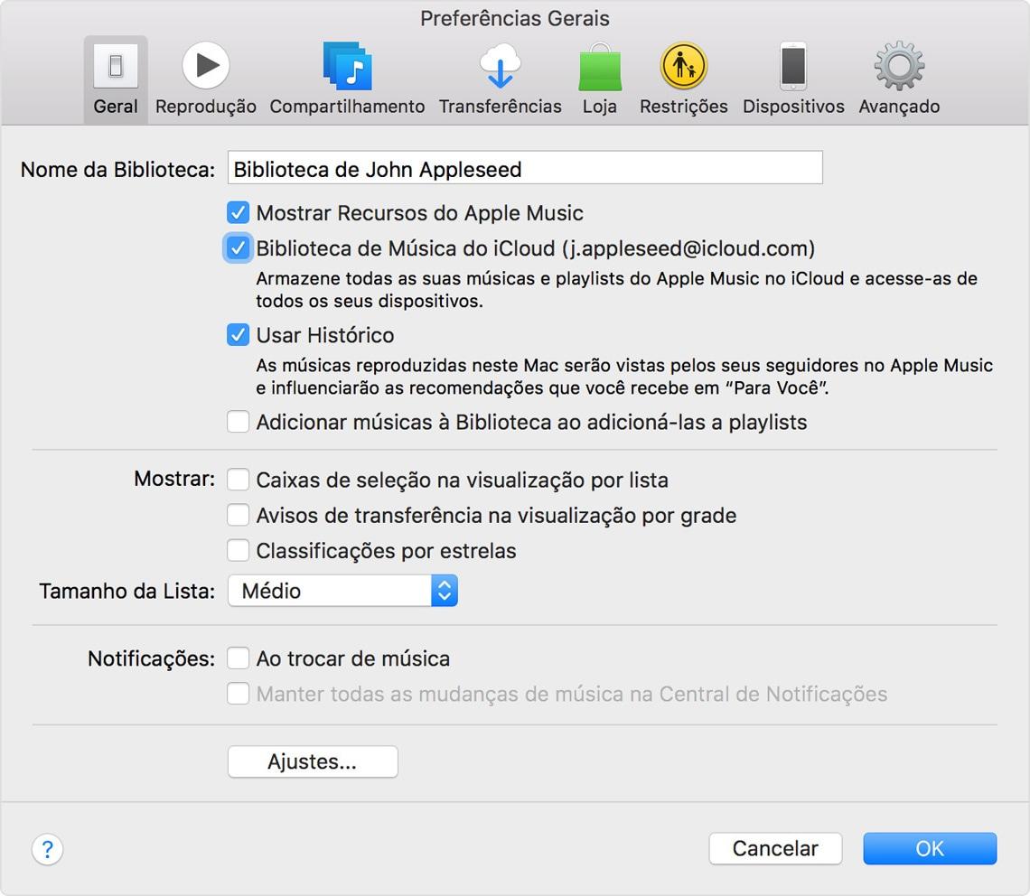 Ativando a Biblioteca de Músicas do iCloud no iTunes