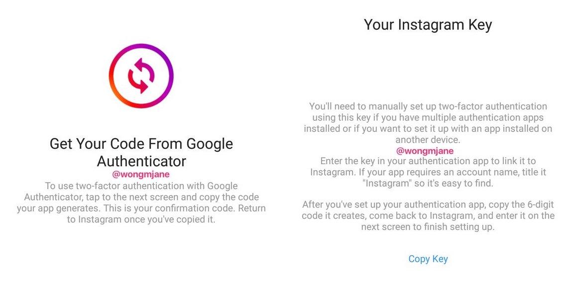 Novo método de autenticação por dois fatores do Instagram
