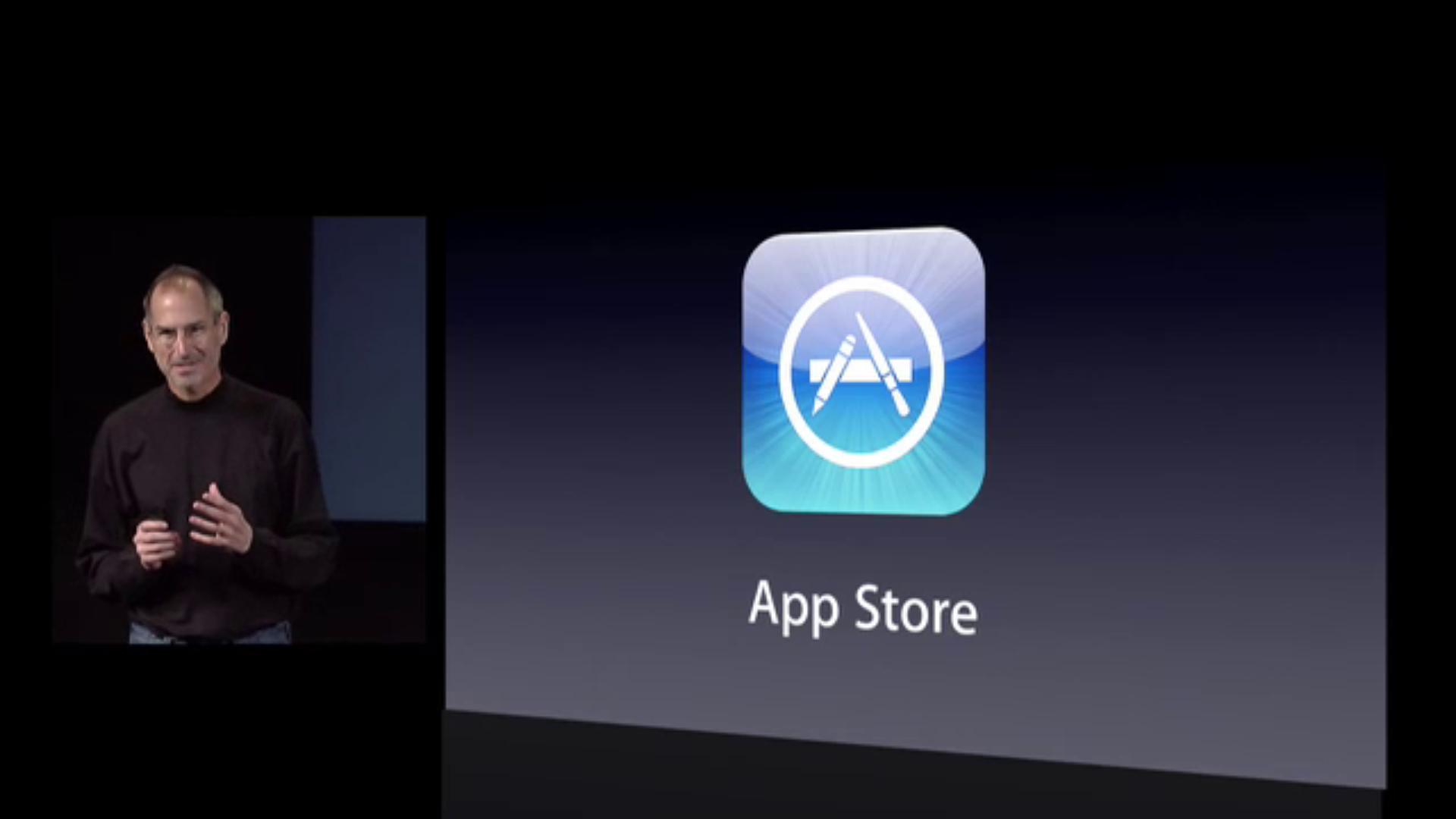 Steve Jobs apresentando a App Store